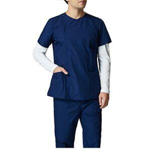 KKXY Ensemble De Gommage, Haut Design Col Plat, Avec Un Pantalon à Cordon, Uniforme Raglan à Panneau En Tricot Médical, Tissu Extensible Dans Les 4 Sens, 5 Poches(Size:XS,Color:Bleu foncé)