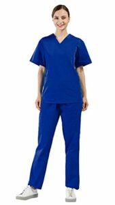 Nanxson Uniforme Médicale en Coton Veste et Pantalon 2 Pièces Ensemble de Vêtement de Travail Infirmier/Garde-Malade/Soignant/Médecin/Pharmacie/Laboratoire/Chirurgien CF9027 (Femme Bleu, XL)
