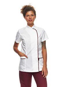 Tunique Pro | Kasacks pour femme | Manches courtes avec col mao dans différentes couleurs | Vêtement professionnel médical | Blouse pour salons de beauté | Robe de pratique | Fabriqué en UE, Blanc., M