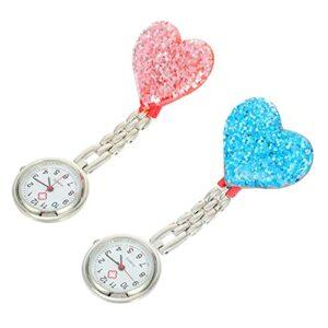 UKCOCO 2Pcs Hanging Pocket Watch Cristal Clip- sur La Montre pour Les Femmes Infirmière Étudiant