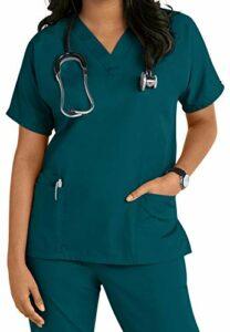 Uniforme de blouse pour infirmière, esthéticienne, vétérinaire [S-3XL], Bleu Caraïbe, Taille XXXXL