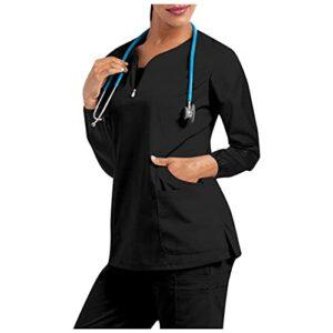 Unisex Blouse Medicale Femme et Homme Tunique Médicale Couleur Unie Blouse, Haut de Gommage Tunique à col en V 2 Poches,Blouse Tunique médicale Col V Manche Longue