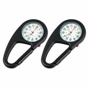 VOSAREA Lot de 2 montres à clip en métal avec porte-clés lumineux – Montre à quartz – Montre médicale, infirmière, unisexe, alpinisme, noir