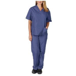 YL JIARO Ensemble Uniformes Dames col en V Blouse – Uniforme Médical avec Haut et Pantalon Médical à Manches Courtes Vêtements de Chirurgicaux Blouse Chimie Infirmière Laboratoire (Grau Blau,XXL)